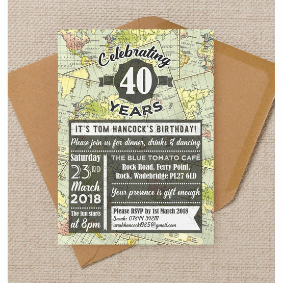 Travel / World Map Themed 40th Birthday Party Invitation