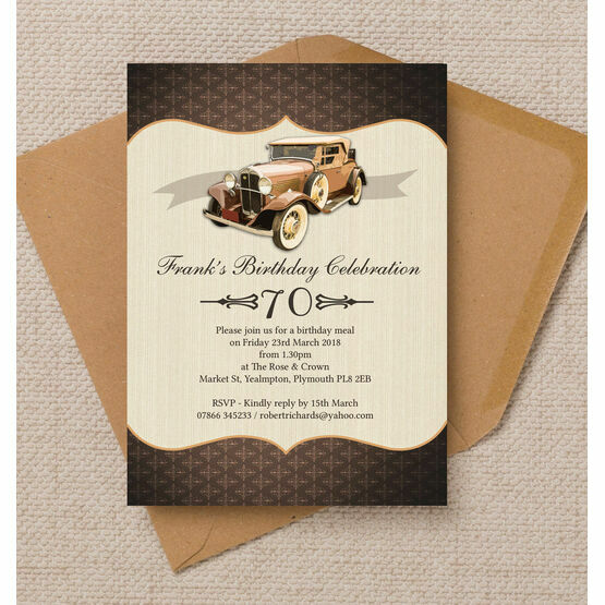 Vintage Car 70th Birthday Party Invitation