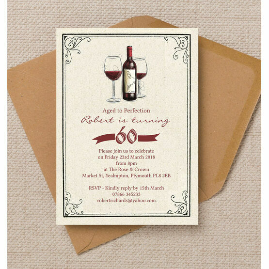 Vintage Wine Themed 60th Birthday Party Invitation