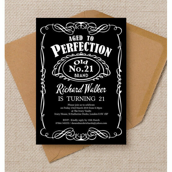 Whiskey Label Themed 21st Birthday Party Invitation