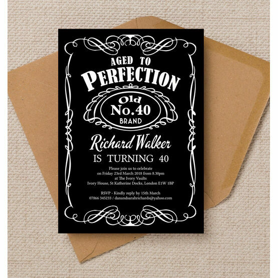 Whiskey Label Themed 40th Birthday Party Invitation
