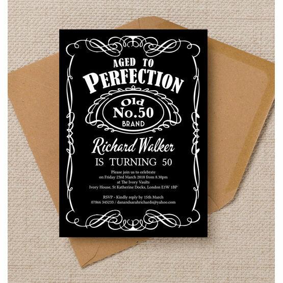 Whiskey Label Themed 50th Birthday Party Invitation