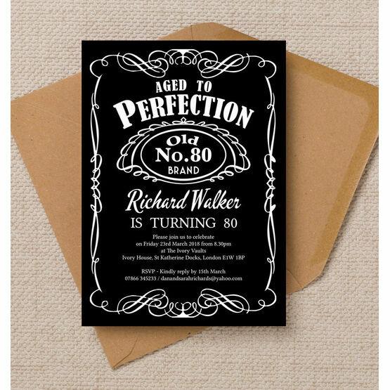 Whiskey Label Themed 80th Birthday Party Invitation