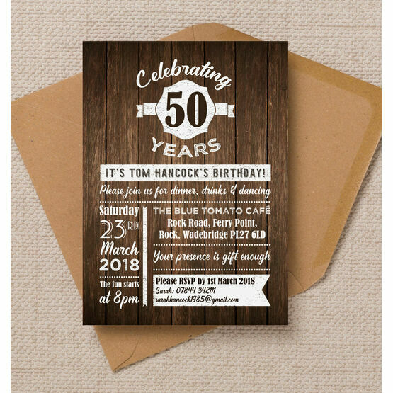 Rustic Wooden Background 50th Birthday Party Invitation