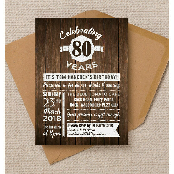 Rustic Wooden Background 80th Birthday Party Invitation