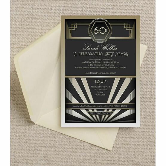Black & Gold Art Deco 1920s 60th Birthday Party Invitation