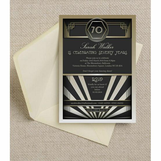 Black & Gold Art Deco 1920s 70th Birthday Party Invitation