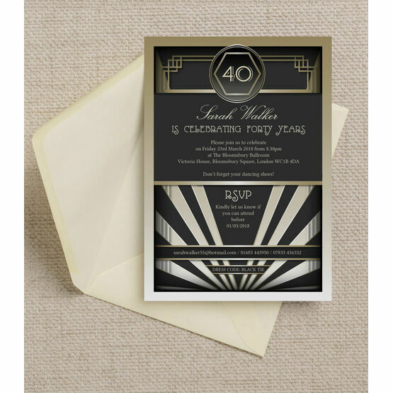 Black & Gold Art Deco 1920s 40th Birthday Party Invitation