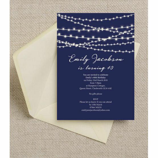 Navy Blue Fairy Lights 40th Birthday Party Invitation