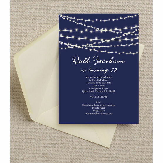 Navy Blue Fairy Lights 60th Birthday Party Invitation