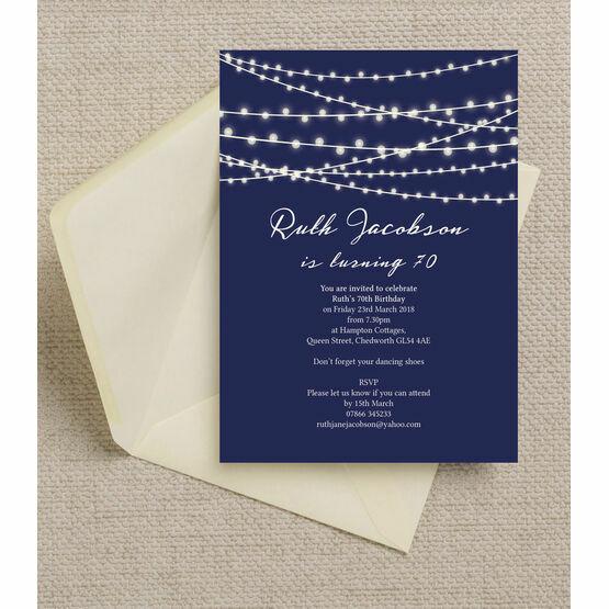 Navy Blue Fairy Lights 70th Birthday Party Invitation