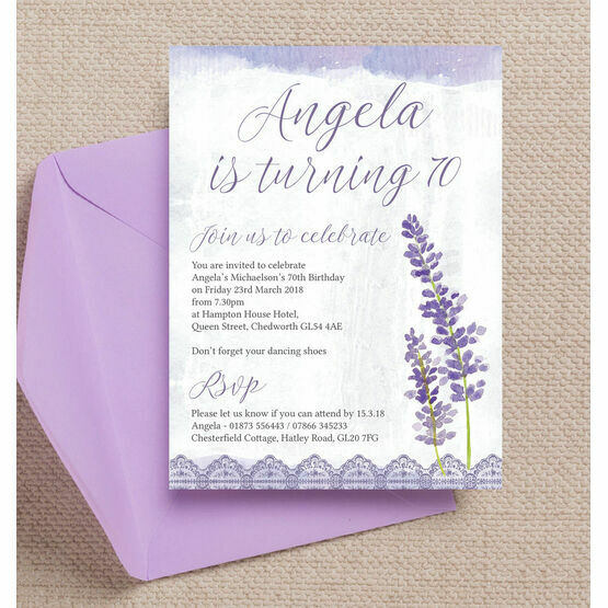 Lilac & Lavender Themed 70th Birthday Party Invitation