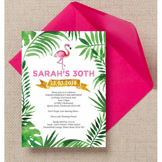 Pink Flamingo Tropical Themed 30th Birthday Party Invitation