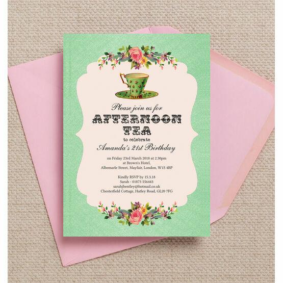 Vintage Afternoon Tea Themed 21st Birthday Party Invitation
