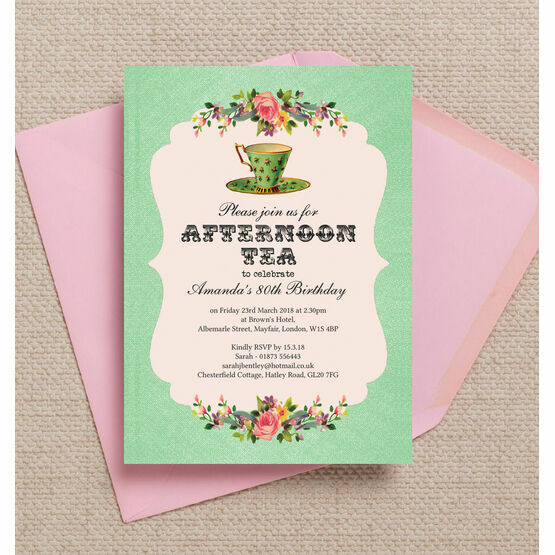 Vintage Afternoon Tea Themed 80th Birthday Party Invitation