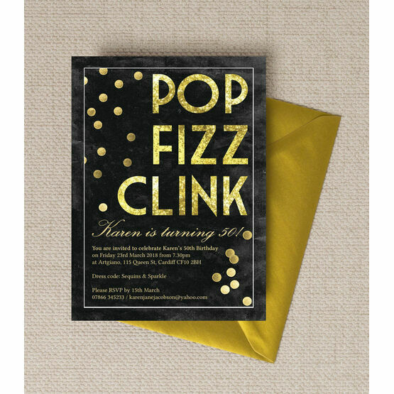 Pop Clink Fizz' Champagne Prosecco Themed 50th Birthday Party Invitation