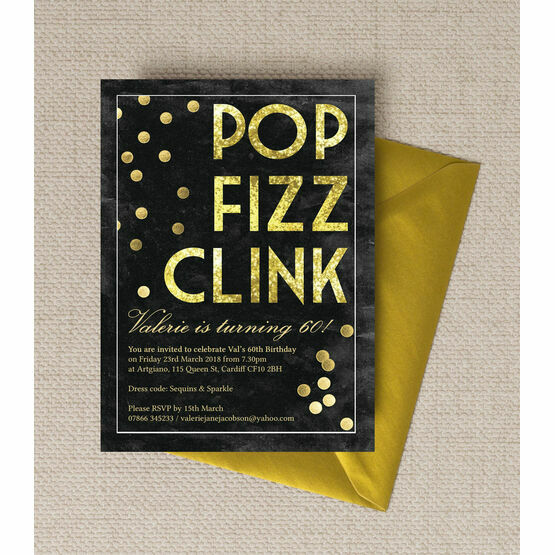 Pop Clink Fizz' Champagne Prosecco Themed 60th Birthday Party Invitation