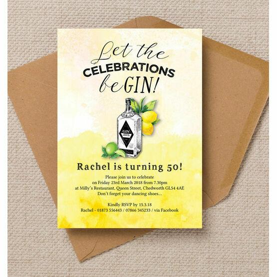 Gin & Tonic Themed 50th Birthday Party Invitation