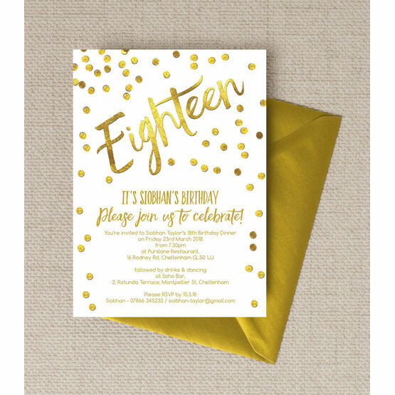 Gold Calligraphy & Confetti 18th Birthday Party Invitation
