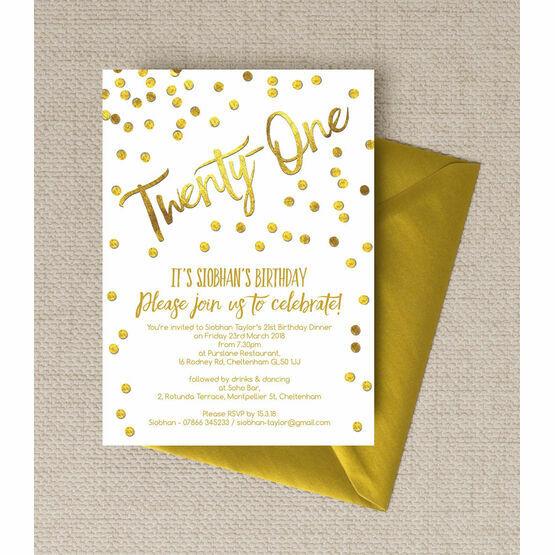 Gold Calligraphy & Confetti 21st Birthday Party Invitation