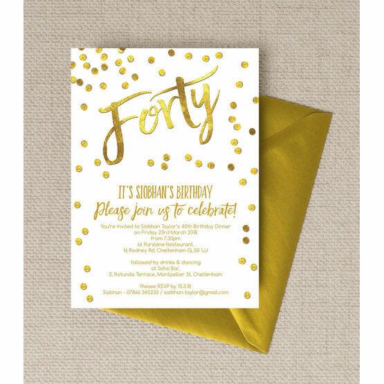 Gold Calligraphy & Confetti 40th Birthday Party Invitation