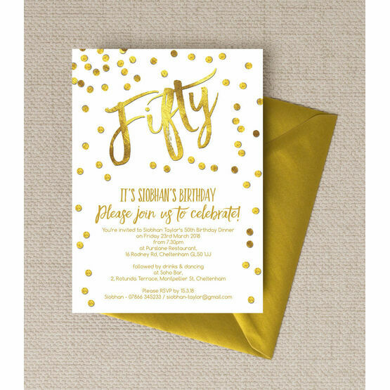 Gold Calligraphy & Confetti 50th Birthday Party Invitation