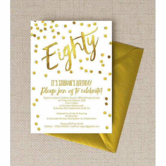 Gold Calligraphy & Confetti 80th Birthday Party Invitation