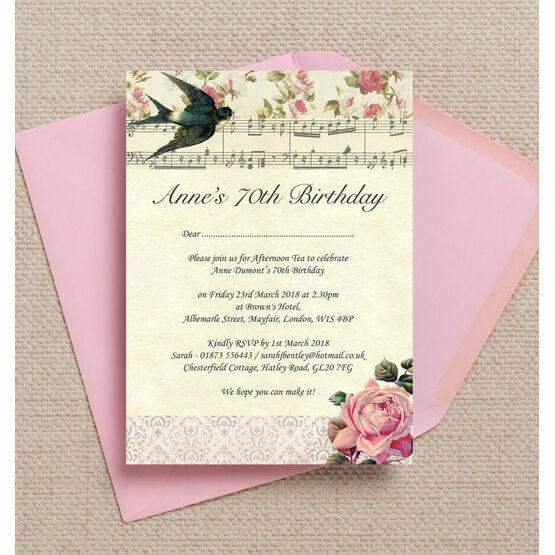 Vintage Scrapbook Style 70th Birthday Party Invitation