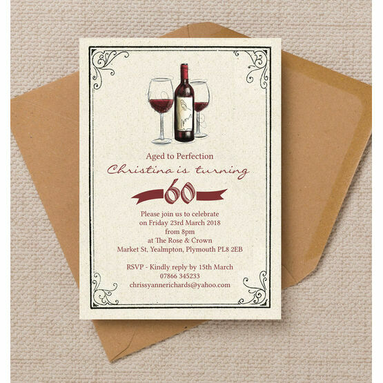 Vintage Red Wine Themed 60th Birthday Party Invitation