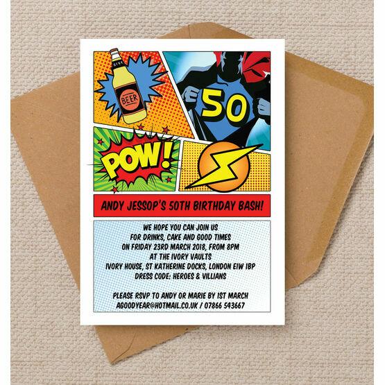 Comic Book Inspired Superhero 50th Birthday Party Invitation