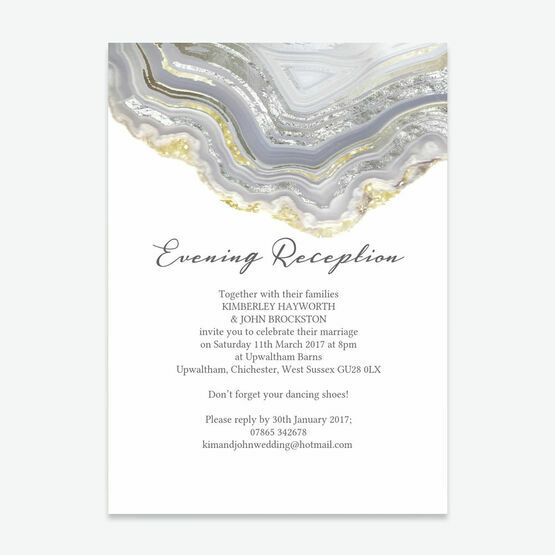 Agate Crystal Silver Grey Evening Reception Invitation