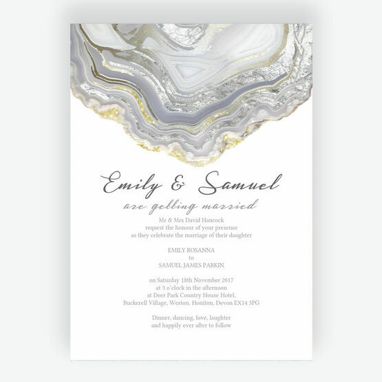 Agate Crystal Silver Grey Wedding Invitation