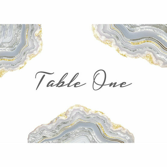 Agate Crystal Silver Grey Table Name