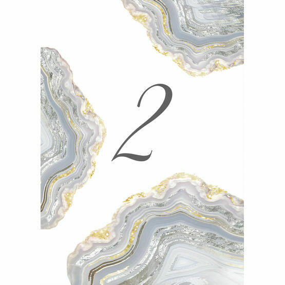 Agate Crystal Silver Grey Table Number