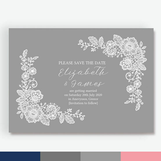 Floral Lace Save the Date