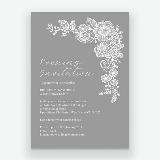 Floral Lace Evening Reception Invitation
