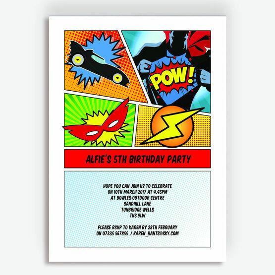 Comic Book Superhero Party Invitation