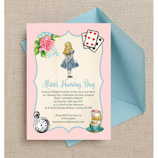 alice in wonderland naming day ceremony invitation from 0 80 each