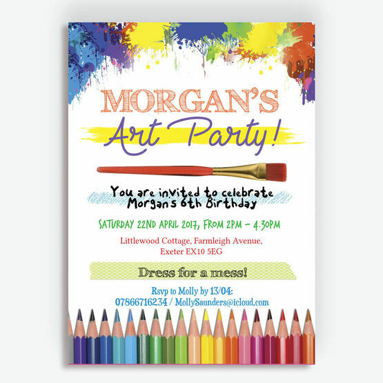Art & Craft Themed Birthday Party Invitation