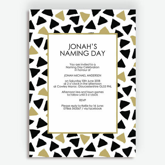 Black & Gold Naming Day Ceremony Invitation