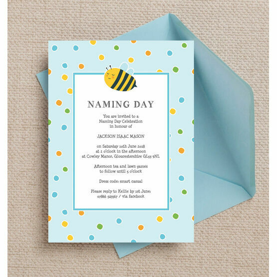Bumble Bees Naming Day Ceremony Invitation - Blue
