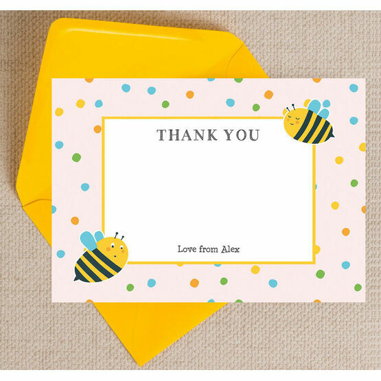 Bumble Bees Thank You Cards - Pink