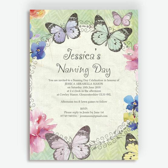 Butterfly Garden Naming Day Ceremony Invitation