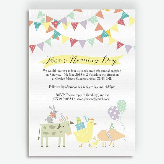 Farmyard Animals Naming Day Ceremony Invitation