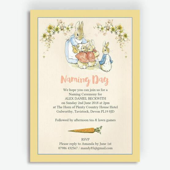 Flopsy Bunnies Naming Day Ceremony Invitation