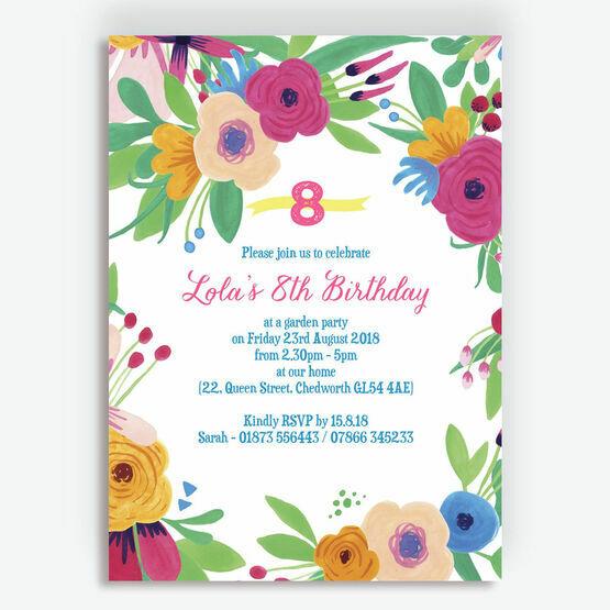 Floral Fiesta Birthday Party Invitation