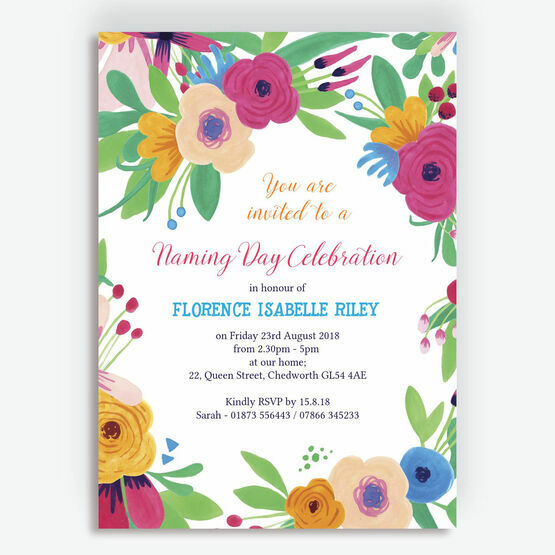 Floral Fiesta Naming Ceremony Day Invitation