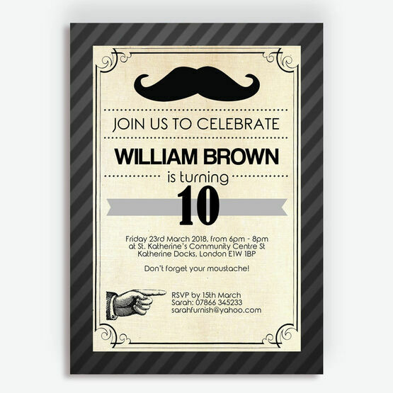 Moustache Themed Birthday Party Invitation