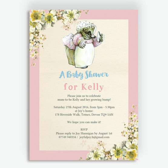 Mrs Tiggy Winkle Baby Shower Invitation