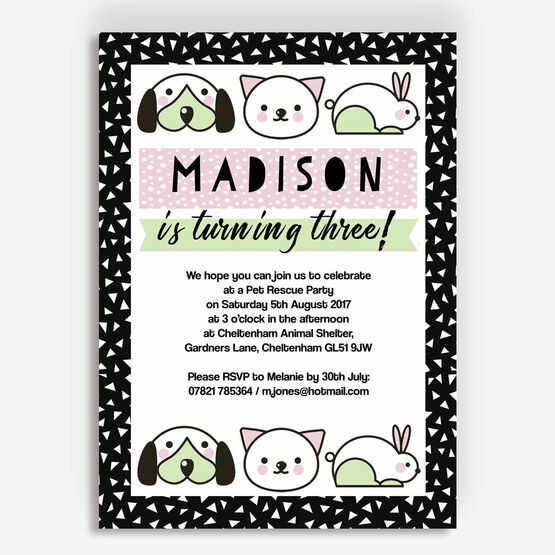 Pet Rescue Birthday Party Invitation - Pink